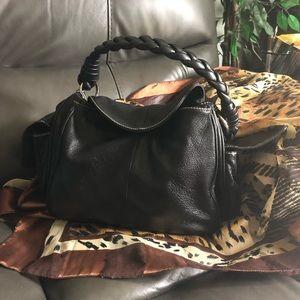 Black leather purse b makowsky